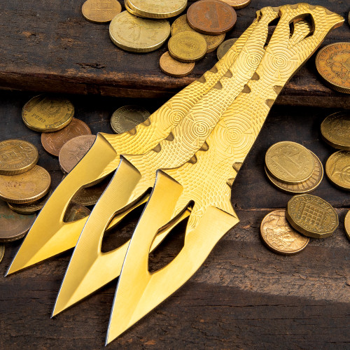 On Target Three-Piece Aztec Gold Throwing Knife Set w/Sheath