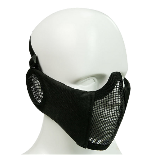 Bravo Airsoft Tactical Gear: V4 Strike Metal Mesh Face Mask with Ear Protection - Black