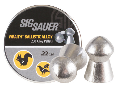 Sig Sauer Wraith Ballistic Alloy Pellets, .22 Cal, 12.35 Grains, Domed, 200ct