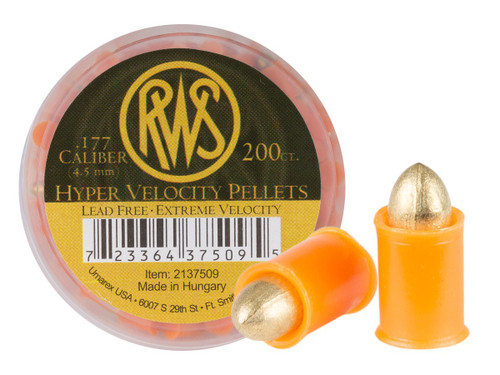RWS Hyper Velocity .177 Cal, 5.2 Grains, Pointed, Lead-Free, 200ct