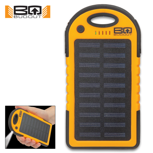 BugOut 8,000 MAH Orange Solar Charger & Power Bank