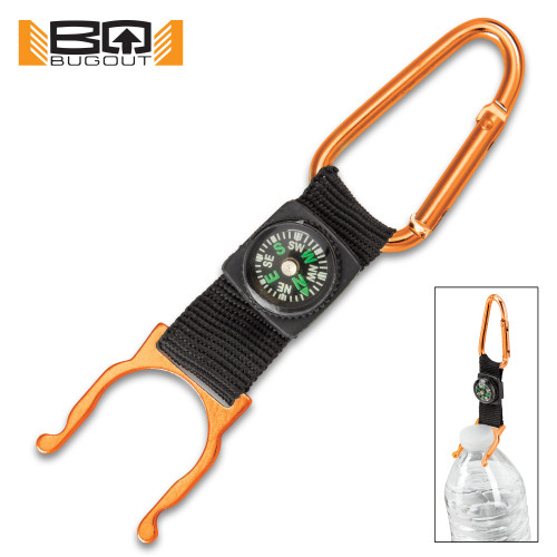 BugOut Carabiner Bottle Holder And Compass