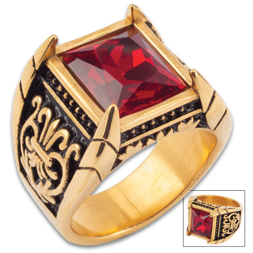 Red Jeweled Medici Ring