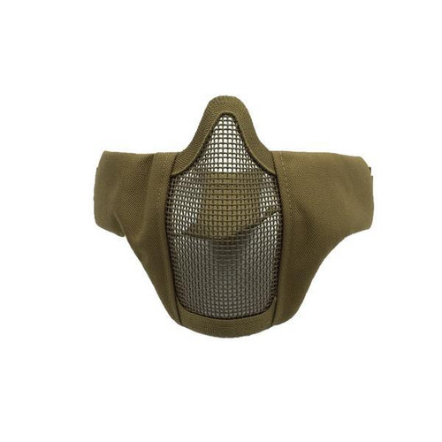 Bravo Airsoft Tactical Gear: V3 Strike Metal Mesh Face Mask in Tan