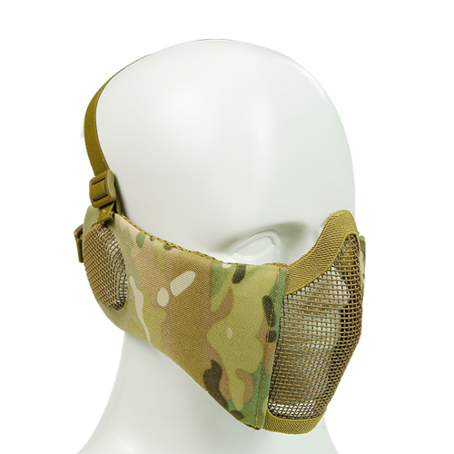 Bravo Airsoft Tactical Gear: V4 Strike Metal Mesh Face Mask with Ear Protection - MC