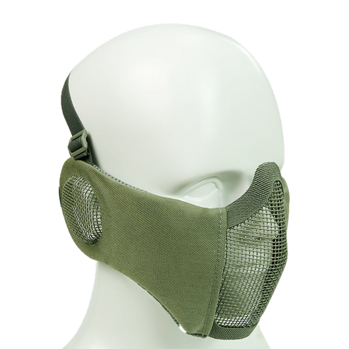 Bravo Airsoft Tactical Gear: V4 Strike Metal Mesh Face Mask with Ear Protection - OD