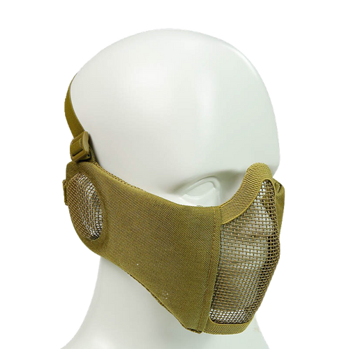 Bravo Airsoft Tactical Gear: V4 Strike Metal Mesh Face Mask with Ear Protection - Tan