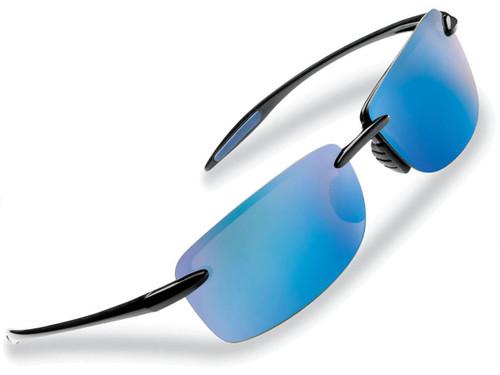 "Flying Fisherman ""Cali"" Rimless Sunglasses (Color: Black Smoke w/ Blue Mirror Lens)"