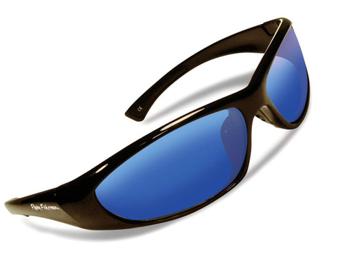 "Flying Fisherman ""Fluke Jr"" Polarized Sunglasses (Color: Black w/ Smoke-Blue Mirror Lens)"
