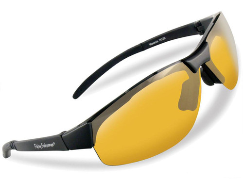 "Flying Fisherman ""Maverick"" Polarized Sunglasses (Color: Matte Black w/ Yellow-Amber Lens)"