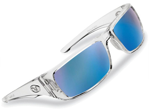 "Flying Fisherman ""Morocco"" Polarized Sunglasses (Color: Crystal w/ Smoke-Blue Mirror Lens)"