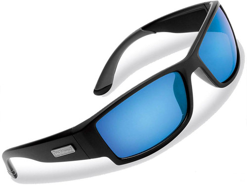 "Flying Fisherman ""Razor"" Polarized Sunglasses (Color: Matte Black w/ Smoke-Blue Mirror Lens)"