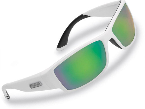 "Flying Fisherman ""Razor"" Polarized Sunglasses (Color: Matte White w/ Amber-Green Mirror Lens)"
