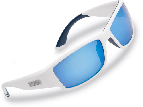 "Flying Fisherman ""Razor"" Polarized Sunglasses (Color: Matte White w/ Smoke-Blue Mirror Lens)"