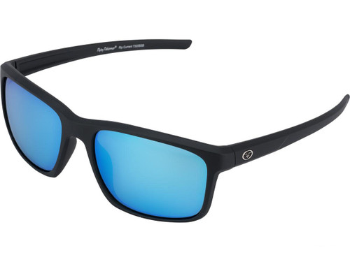 "Flying Fisherman ""Rip Current"" Polarized Sunglasses (Color: Matte Black w/ Smoke-Blue Mirror Lens)"