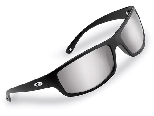 "Flying Fisherman ""Slack Tide"" Polarized Sunglasses (Color: Black w/ Smoke-Silver Mirror Lens)"