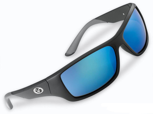 "Flying Fisherman ""Triton"" Polarized Sunglasses (Color: Matte Black w/ Smoke-Blue Mirror Lens)"