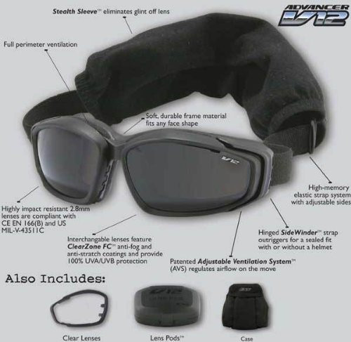 Ess Advancer V12 Tactical Goggles Kit - 2 Lenses