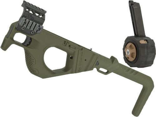 SRU 3D Printed PDW Carbine Kit for G Series Gas Blowback Airsoft Pistols (Color: OD Green w/ Drum Mag)