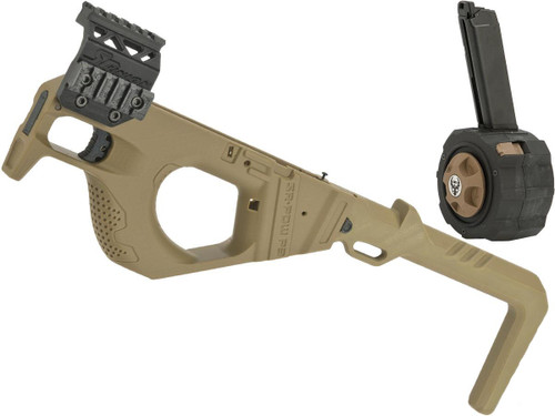 SRU 3D Printed PDW Carbine Kit for G Series Gas Blowback Airsoft Pistols (Color: Tan w/ Drum Mag)