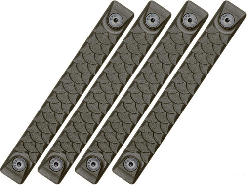 RailScales HTP Scales for Accessory Handguards (Model: OD Green / Keymod / Dragon / 4 Pack / 5 Slot)