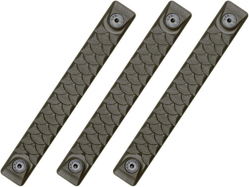 RailScales HTP Scales for Accessory Handguards (Model: OD Green / M-Lok / Dragon / 3 Pack / 2.5 Slot)