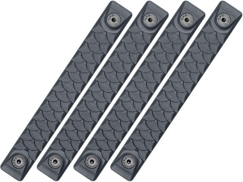 RailScales HTP Scales for Accessory Handguards (Model: Sniper Grey / M-LOK / Dragon / 4 Pack / 2.5 Slot)