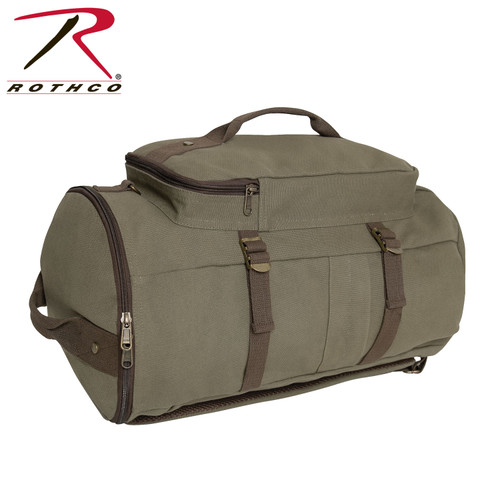 """Rothco Convertible 19"""" Canvas Duffle/Backpack -Olive Drab/Brown"""