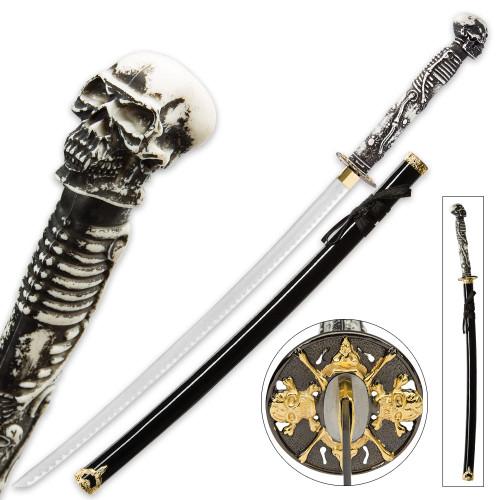 Something Wicked Skull & Bones Fantasy Katana Sword w/Scabbard