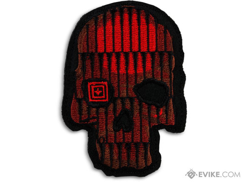 """5.11 Tactical """"Crusty Bullet Skull"""" Embroidered Morale Patch (Color: Red)"""