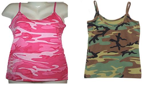 Hero Brand Woman's Spaghetti Strap Camouflage Tank Top
