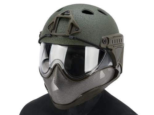 """WARQ Full Face Protection """"Raptor"""" Helmet System (Color: OD Green / Clear Lens)"""