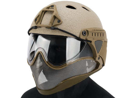 """WARQ Full Face Protection """"Raptor"""" Helmet System (Color: Tan / Clear Lens)"""