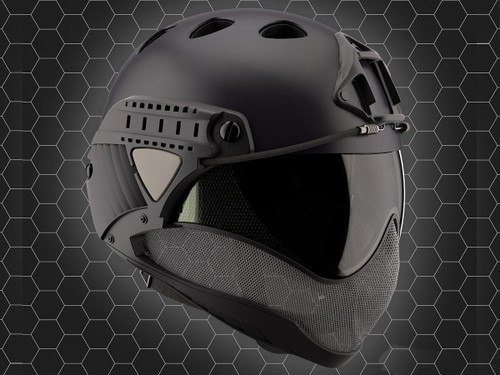 WARQ Full Face Protection Helmet System (Color: Black / Clear Lens)
