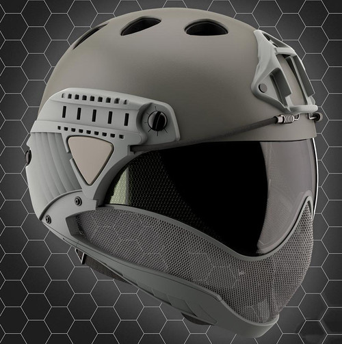 WARQ Full Face Protection Helmet System (Color: Grey / Clear Lens)