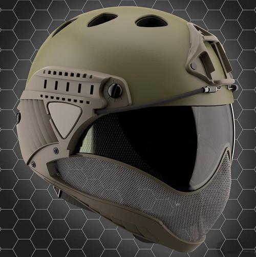 WARQ Full Face Protection Helmet System (Color: OD Green / Clear Lens)