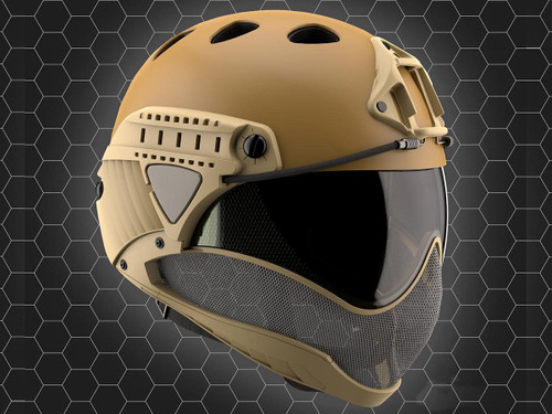 WARQ Full Face Protection Helmet System (Color: Tan / Clear Lens)