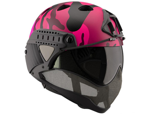 WARQ Custom Full Face Protection Helmet System (Color: Pink Woodland / Clear Lens)