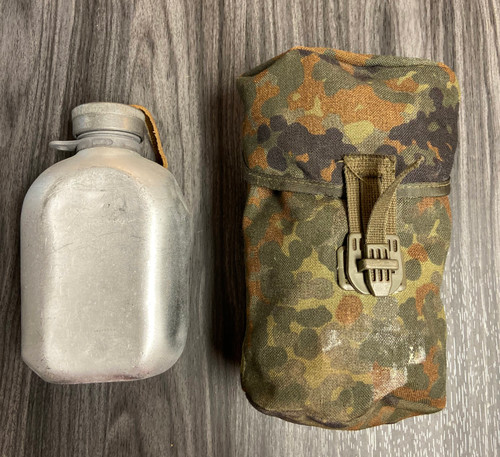 German Armed Forces Aluminum Canteen w/Flectar Camo Cover