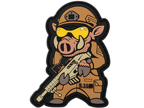 """5.11 Tactical """"Boar Sniper"""" Hook & Loop PVC Morale Patch - Brown"""