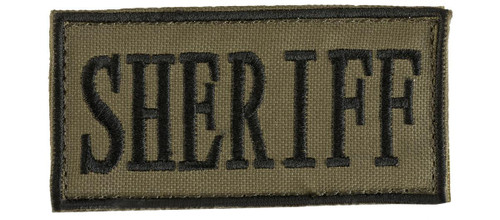 "Voodoo Tactical ""Sheriff"" Embroidered Hook and Loop Morale Patch - OD Green Small"