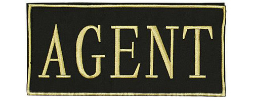 "Voodoo Tactical ""Agent"" Embroidered Hook and Loop Morale Patch - Gold - Large"
