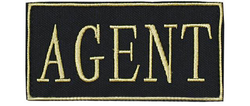 "Voodoo Tactical ""Agent"" Embroidered Hook and Loop Morale Patch - Gold - Small"