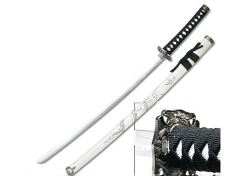 """Master Cutlery """"Carved Dragon"""" Decorative 40.25"""" Samurai Sword with Scabbard - Black and White"""