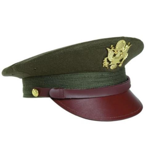 US Repro WWII Od Offc Visor Hat W Insignia