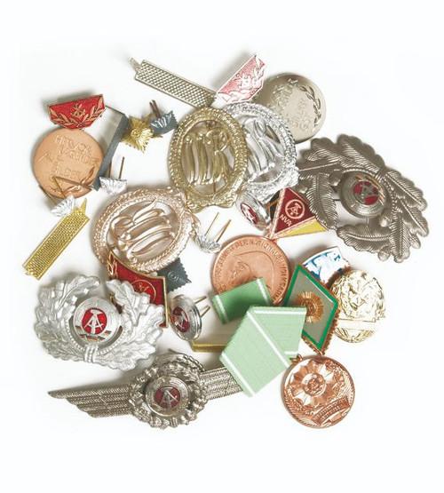 East German Metal Insignia Assortment - 50 Pieces