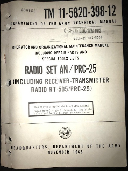 Tech Manual TM 11-5820-398-12 Radio Set AN/PRC-25 Vietnam 1965 Transmitter