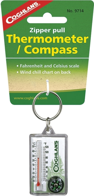 Zipper Pull Thermomter/Compass