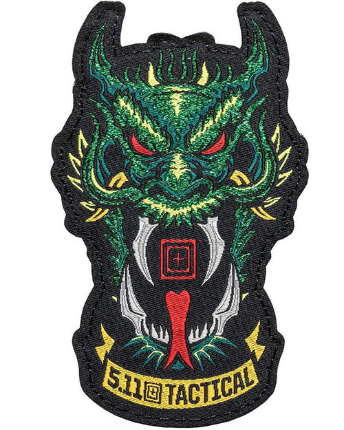 """5.11 Tactical """"Green Dragon"""" Hook & Loop Embroidered Morale Patch"""