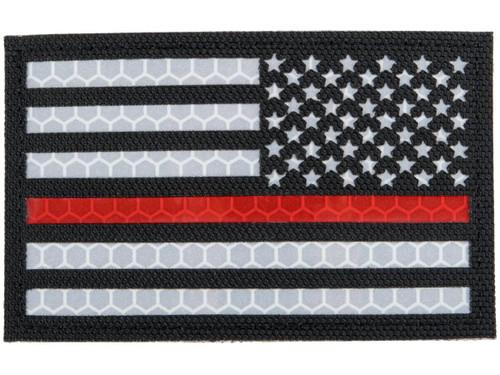 Matrix Reflective Thin Red Line US Flag Patch w/ Nylon Bordering (Color: Black / Right)